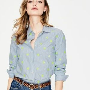 Boden Classic Shirt Blue and Ivory Stripe